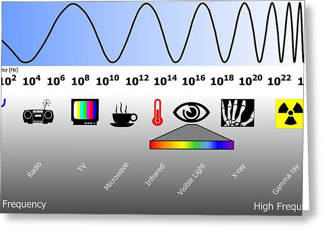 Amplitude Greeting Cards - Electromagnetic Spectrum Greeting Card by Friedrich Saurer