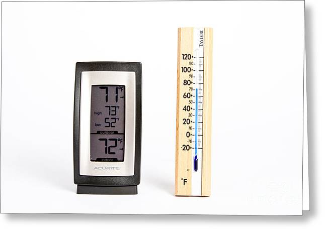 Comparison Greeting Cards - Electronic And Glass Thermometer Greeting Card by Photo Researchers