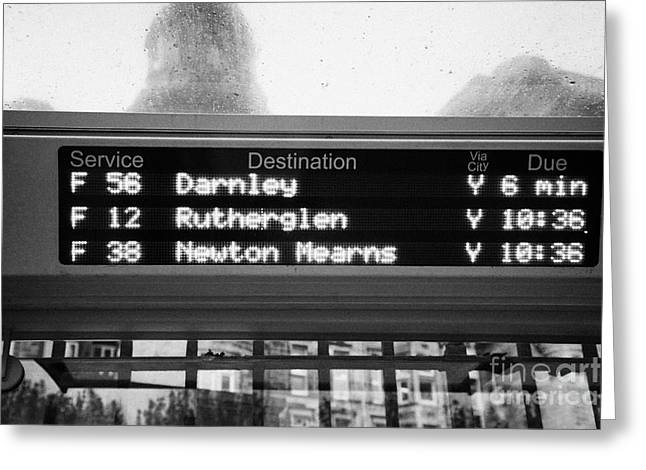 Busstop Greeting Cards - Electronic Bus Timetable In Central Glasgow Scotland Uk Greeting Card by Joe Fox