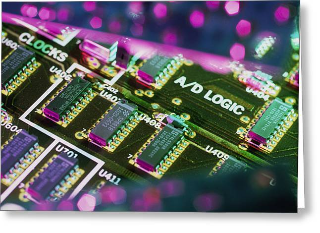 Non-integrated Electronics Greeting Cards - Electronic Circuit Board From A Computer Greeting Card by Steve Horrell