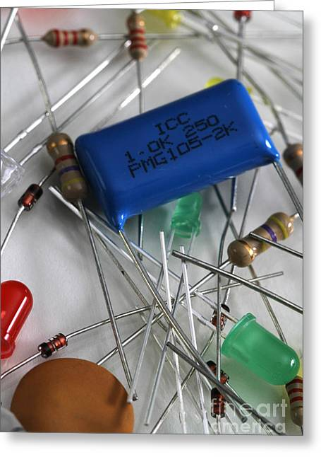 Capacitors Greeting Cards - Electronic Components Greeting Card by Photo Researchers, Inc.