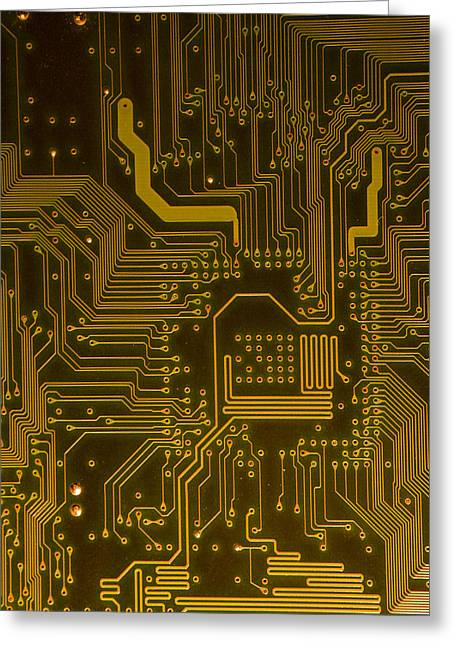 Motherboard Greeting Cards - Electronic Highway Yellow Greeting Card by David Paul Murray