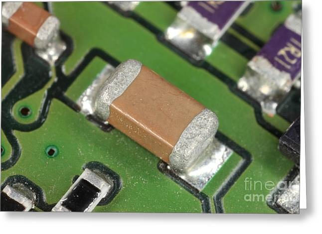 Solder Greeting Cards - Electronics Board With Lead Solder Greeting Card by Ted Kinsman