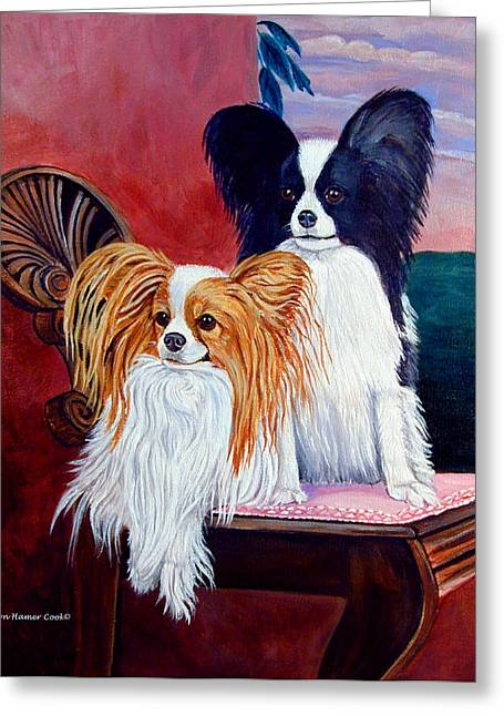K9 Greeting Cards - Elegance - Papillon Dog Greeting Card by Lyn Cook