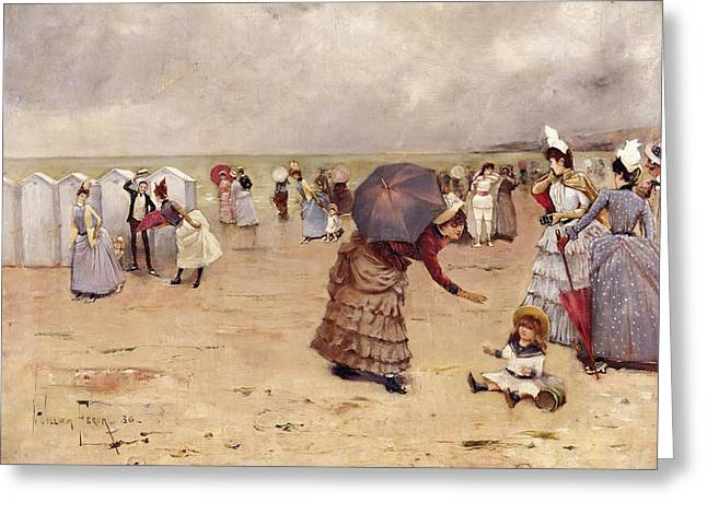 Gathering Greeting Cards - Elegant Figures on a Beach Greeting Card by William Feron