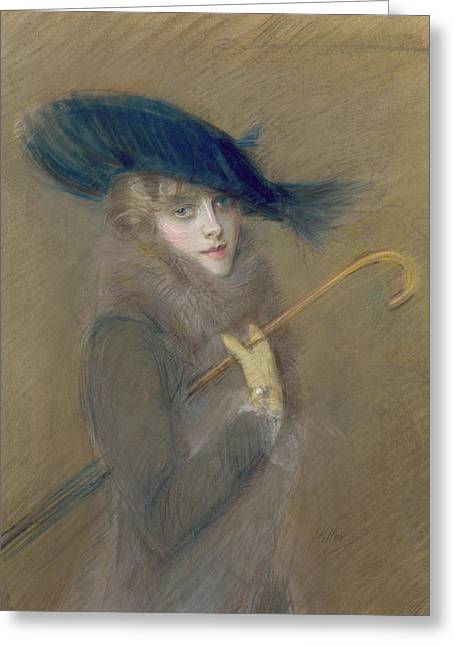 Protrait Greeting Cards - Elegant Lady Greeting Card by Paul Cesar Helleu