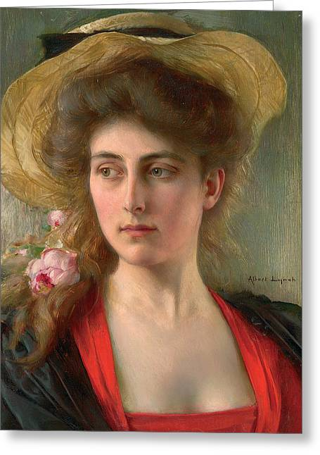 Reverie Paintings Greeting Cards - Elegante Greeting Card by Albert Lynch