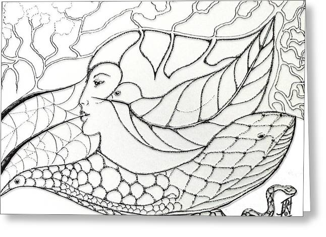 Mistikkal Original Art Greeting Cards - Elemental 2 drawing Greeting Card by Rosy Hall