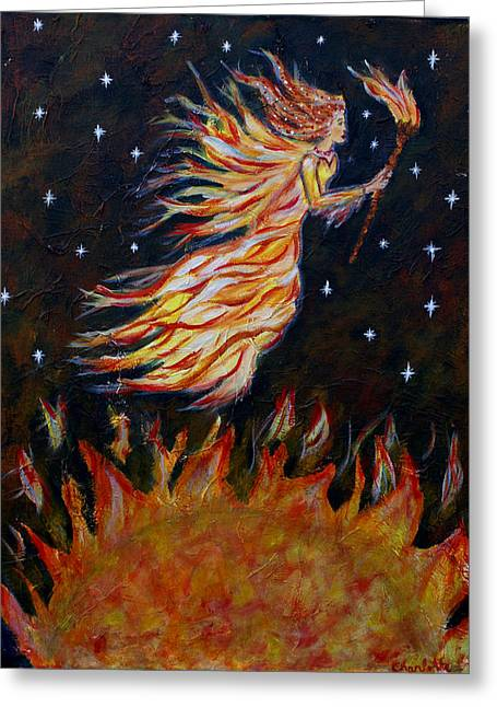 Night Angel Greeting Cards - Elemental Earth Angel of Fire Greeting Card by The Art With A Heart By Charlotte Phillips
