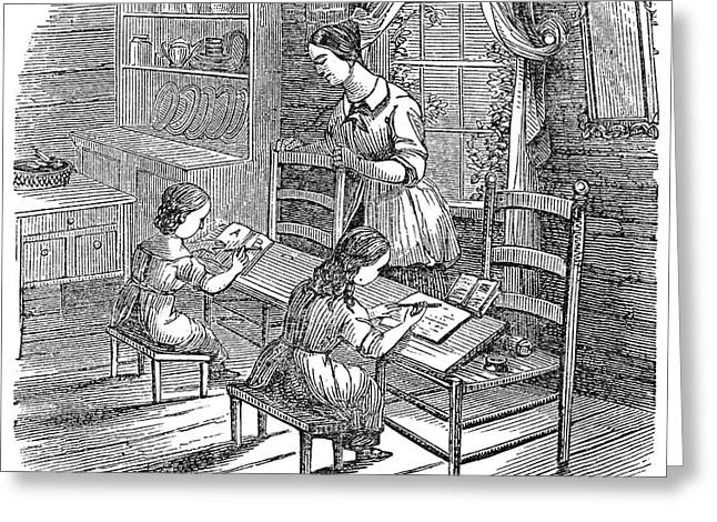 Schoolmistress Greeting Cards - Elementary School, 1840 Greeting Card by Granger