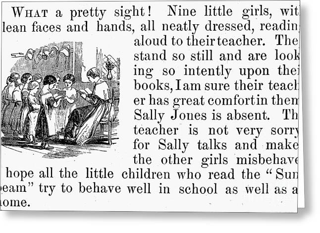 Schoolmistress Greeting Cards - Elementary School, 1860 Greeting Card by Granger