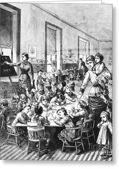 Schoolgirl Greeting Cards - Elementary School, 1881 Greeting Card by Granger