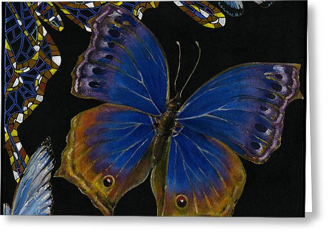Yakubovich Greeting Cards - Elena Yakubovich - Butterfly 2x2 lower right corner Greeting Card by Elena Yakubovich