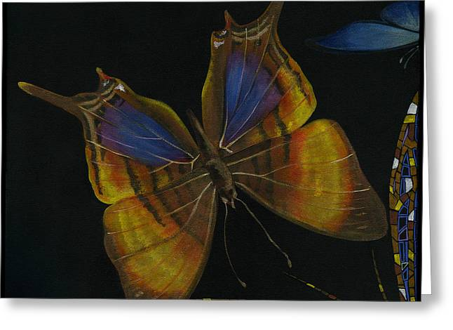 Elena Yakubovich - Butterfly 2x2 Top Left Corner Greeting Card by Elena Yakubovich