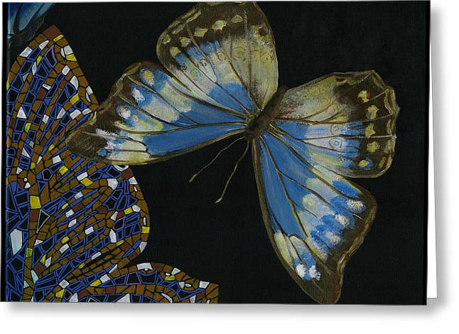 Mosaic Greeting Cards - Elena Yakubovich - Butterfly 2x2 top right corner Greeting Card by Elena Yakubovich