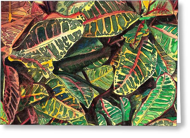 Elena's Crotons Greeting Card by Marionette Taboniar