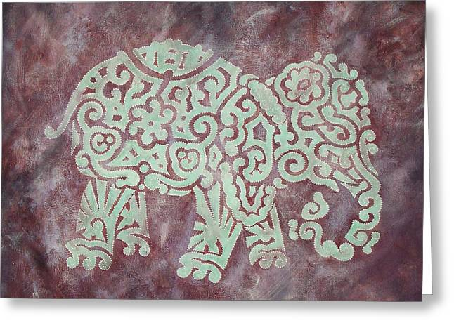 Celtic Paintings Greeting Cards - Elephant - Animal Series Greeting Card by Jennifer Kelly