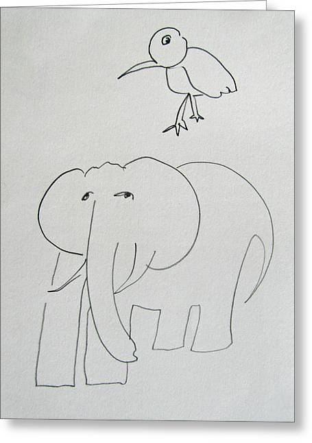 Serengeti Drawing Greeting Cards - Elephant And Bird Greeting Card by Charles Stuart