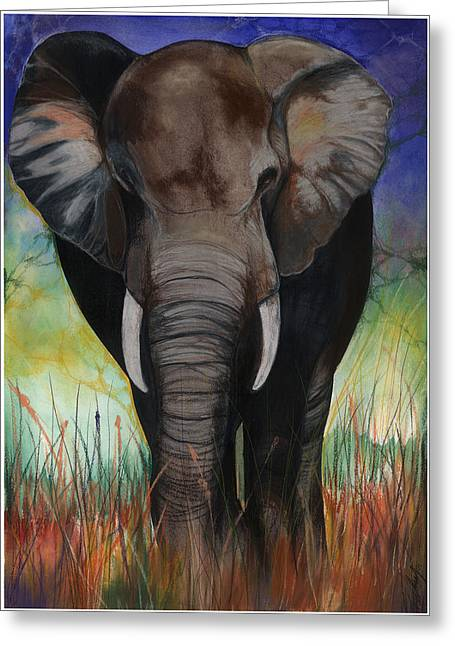Roots Mixed Media Greeting Cards - Elephant Greeting Card by Anthony Burks Sr