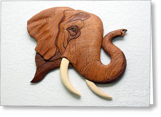 Intarsia Sculptures Greeting Cards - Elephant Greeting Card by Bill Fugerer