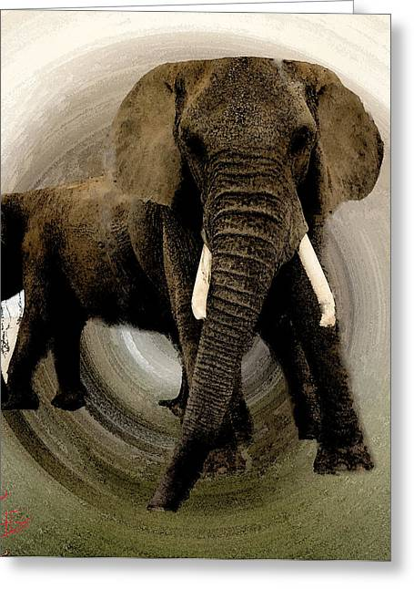 Elephant Pastels Greeting Cards - Elephant Chat  Greeting Card by Colette V Hera  Guggenheim
