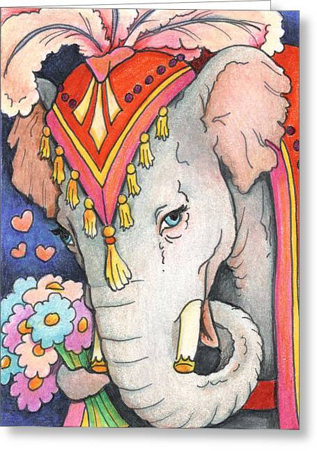 Elephant Flowers Greeting Card by Amy S Turner