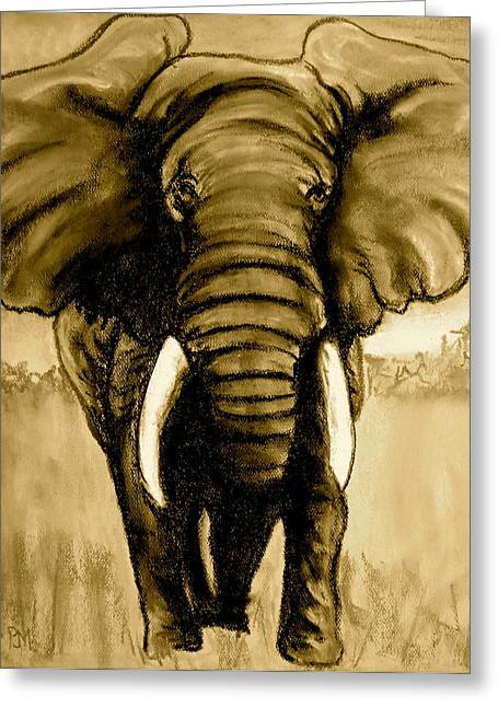 Elephant Pastels Greeting Cards - Elephant II sepia Greeting Card by Pete Maier