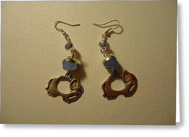Blue Art Jewelry Greeting Cards - Elephant in Blue Earrings Greeting Card by Jenna Green