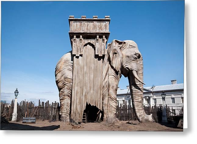 Bastille Greeting Cards - Elephant of the Bastille Greeting Card by Karen Martin