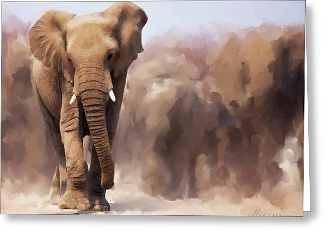 Haugesund Greeting Cards - Elephant Painting Greeting Card by Michael Greenaway