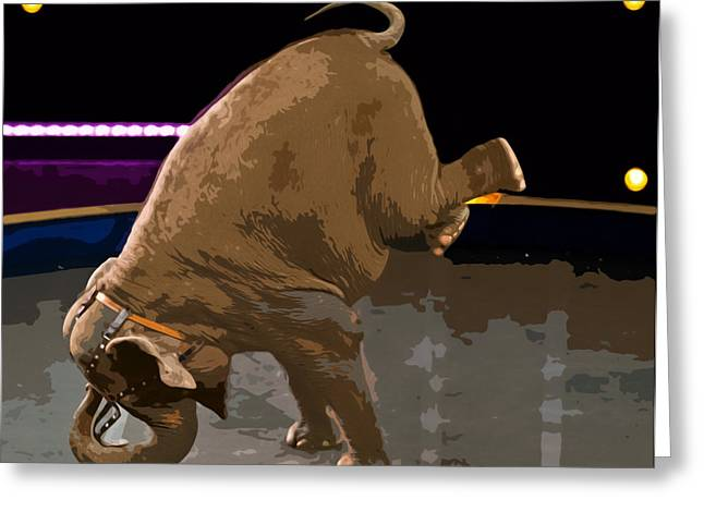 Susan Leggett Digital Greeting Cards - Elephant Perfomance at Circus Greeting Card by Susan Leggett