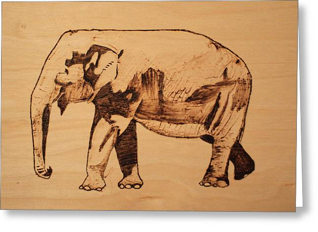 Elephants Pyrography Greeting Cards - Elephant Pyrograph Greeting Card by Jeremy Cardenas