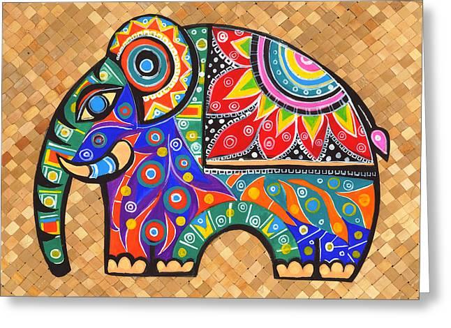 Framed Art Tapestries - Textiles Greeting Cards - Elephant  Greeting Card by Samadhi Rajakarunanayake