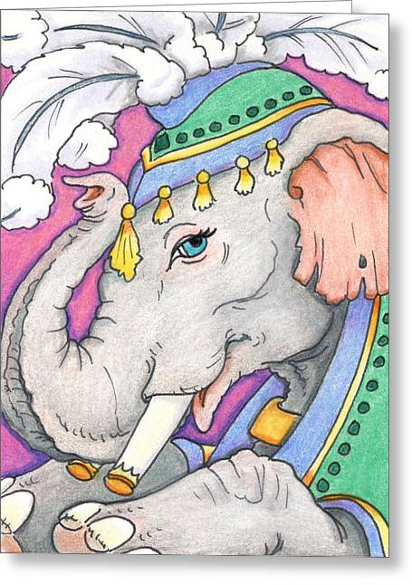 Artist Trading Card Greeting Cards - Elephant Smile Greeting Card by Amy S Turner