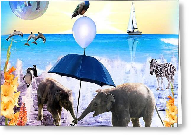 Balloon Flower Digital Art Greeting Cards - Elephant Splash Greeting Card by Emily Campbell