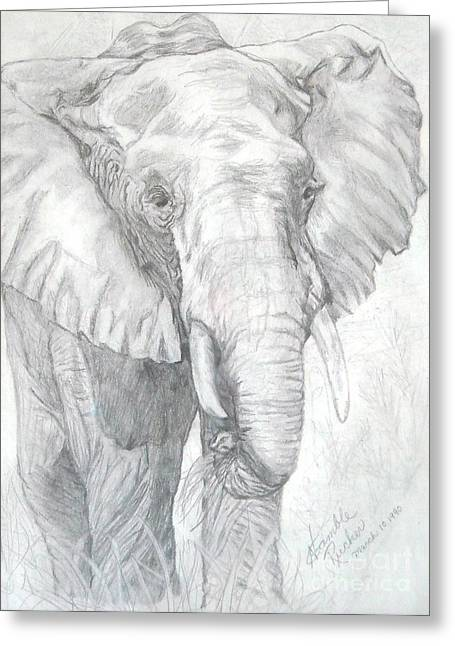 Rucker Greeting Cards - Elephant Walk Greeting Card by Nancy Rucker