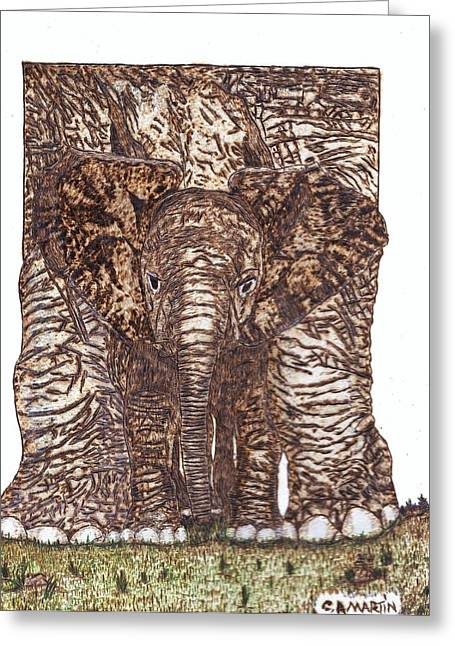 Elephants Pyrography Greeting Cards - Elephants Greeting Card by Clarence Butch Martin