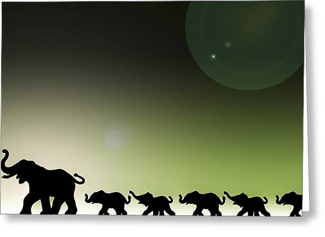 Computer Graphics Greeting Cards - Elephants In A Row Greeting Card by Chris Knorr