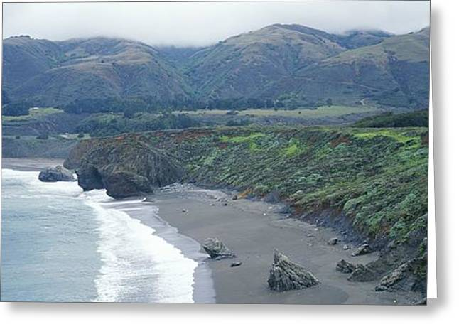 Big Sur Beach Greeting Cards - Elevated View Looking North From Ragged Greeting Card by Rich Reid