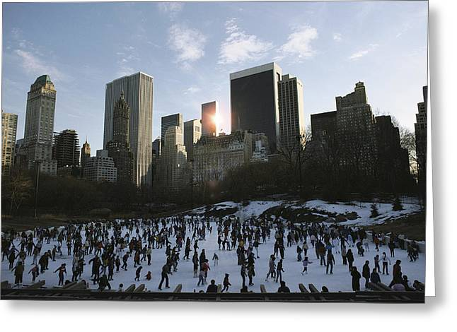 Park Scene Greeting Cards - Elevated View Of Ice Skaters In Central Greeting Card by Ira Block