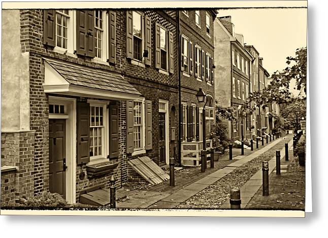 Philadelphia Alley Greeting Cards - Elfreths Alley Greeting Card by Jack Paolini
