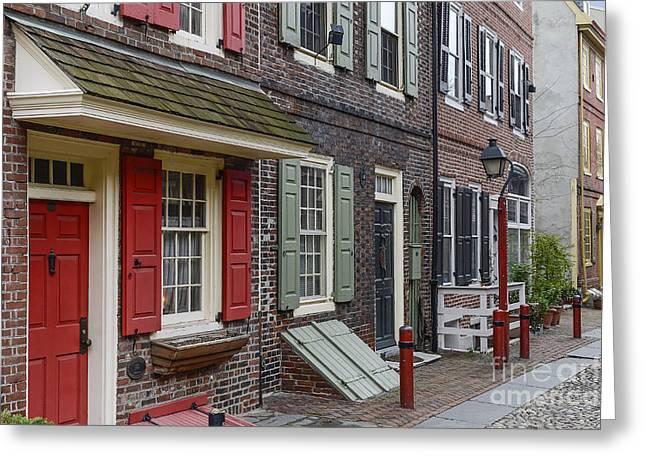Philadelphia Alley Greeting Cards - Elfreths Alley Greeting Card by John Greim