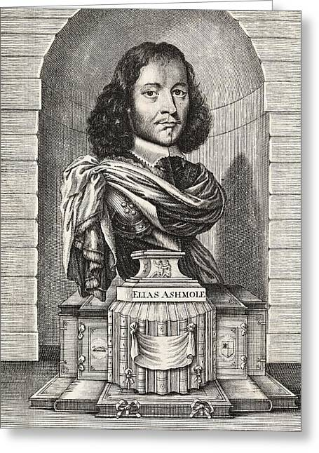 Statue Portrait Greeting Cards - Elias Ashmole, English Antiquary Greeting Card by Middle Temple Library