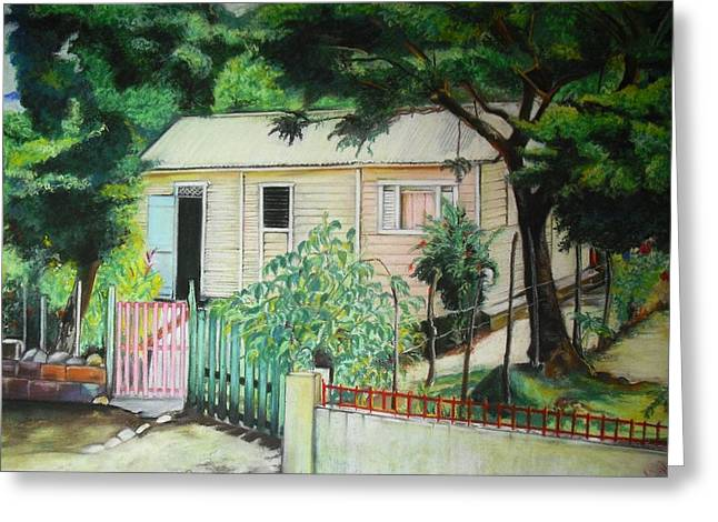 Dominican Republic Pastels Greeting Cards - Elida House Greeting Card by Yxia Olivares
