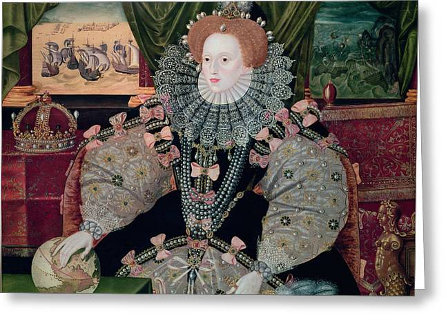 Aristocratic Greeting Cards - Elizabeth I Armada Portrait Greeting Card by George Gower
