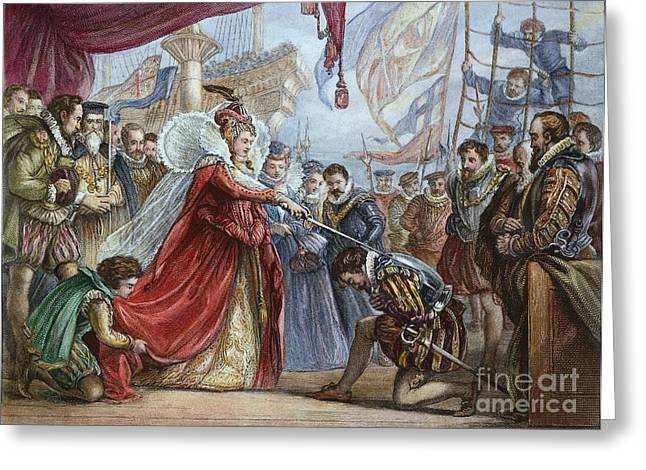 ELIZABETH I/FRANCIS DRAKE Greeting Card by Granger