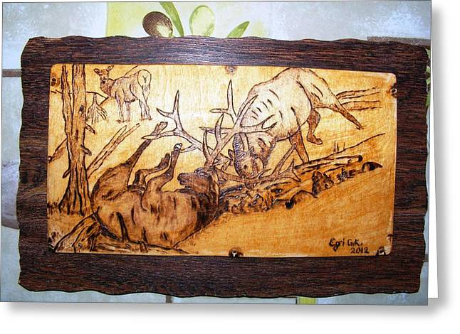 Cabin Wall Pyrography Greeting Cards - Elk Fightings-wood pyrography Greeting Card by Egri George-Christian