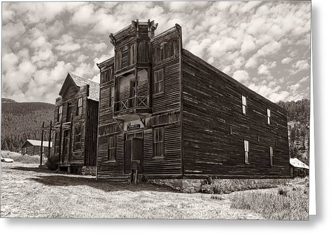 ELKHORN GHOST TOWN PUBLIC HALLS 3 - MONTANA Greeting Card by Daniel Hagerman
