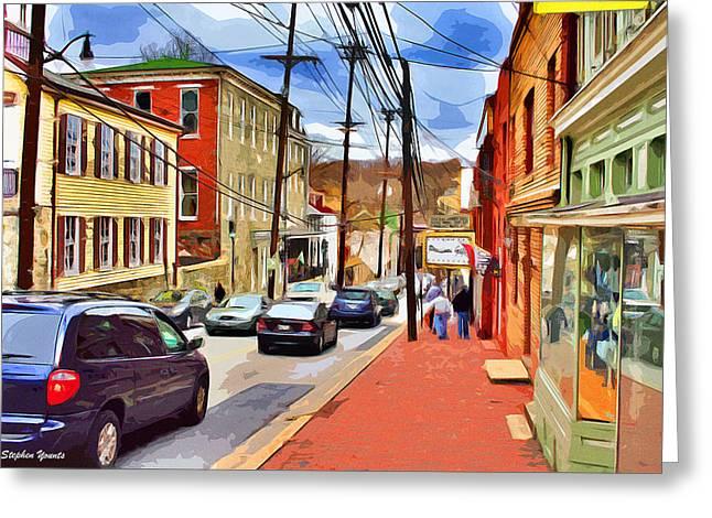 Ellicott Greeting Cards - Ellicott City Sidewalk Greeting Card by Stephen Younts