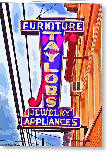 Ellicott Greeting Cards - Ellicott City Taylors Sign Greeting Card by Stephen Younts